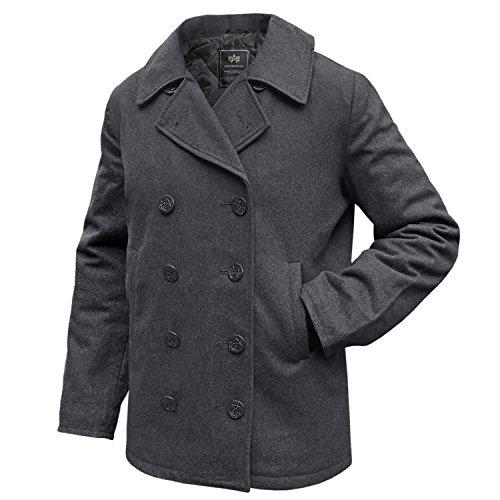 Alpha Industries Pea Coat USN Übergangsjacke Black grigio Large
