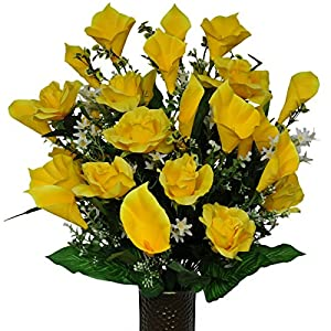 Yellow Rose and Calla Lily Mix Artificial Bouquet, featuring the Stay-In-The-Vase Design(c) Flower Holder (MD1138) 73