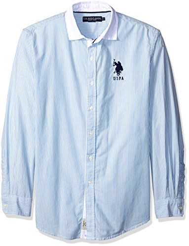 U.S. Polo Assn. Men's Bengal Stripe Oxford Cloth Woven Shirt, Regatta, - Cotton Stripe Bengal Shirt