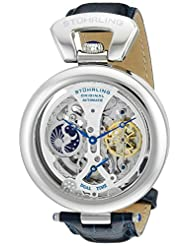 Stuhrling Original Men's 127A.3315C2 Emperor's Grandeur Dual Time Automatic Skeleton Dial Watch Silver