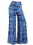 Arrisol Women's Stretchy Wide Leg Palazzo Lounge Pants (Floral1,XL)