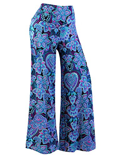 (Arolina Women's Stretchy Wide Leg Palazzo Lounge Pants (XXL, Floral 1))