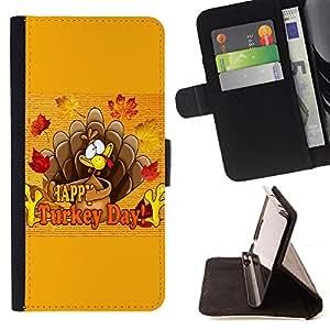 - FALL TURKEY AUTUMN THANKSGIVING DAY - - Prima caja de la PU billetera de cuero con ranuras para tarjetas, efectivo desmontable correa para l Funny HouseFOR Sony Xperia Z1 Compact D5503
