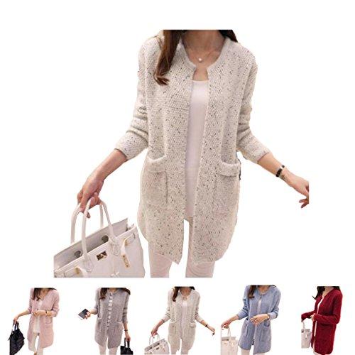 Longues Printemps Manteau Sweater Masterein en Manches Length Laine corenne Cardigan Beige Pocket Automne Knit Femmes Coat Loose Slim Sweater Mid f8zqXzw5