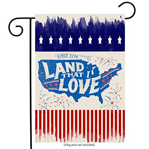 uHome Patriotic Garden Flag with Land That I Love, Outline Map, Stars and Stripes Background, Double-Sided, 100% All-Weather Polyester, Yard Flag to Bright Up Your Garden 12.5