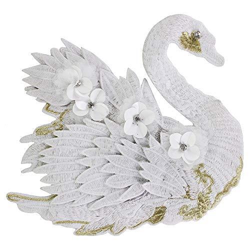 Large Embroidery White Black Swan Patches Sequin Motifs Applique Pants Badge Crafts 2pieces