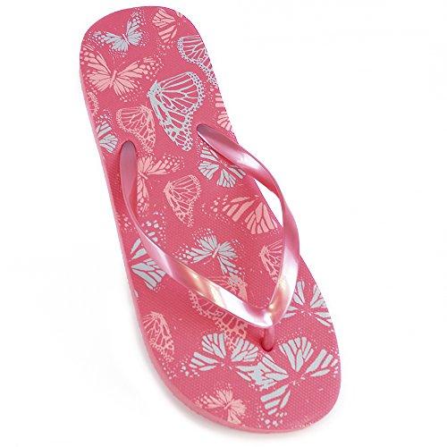 dames van de vlinder Print Flip Flops Pink