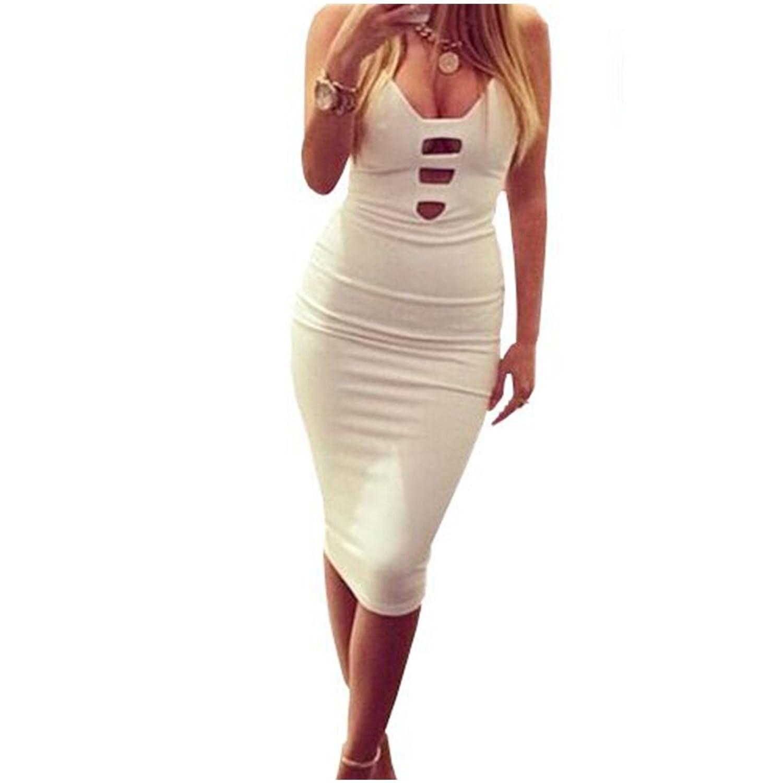Yizenge Sexy low-cut V-neck Bodycon Party Dresses,Backless Straps dress