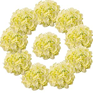 LUSHIDI 10PCS Silk Hydrangea Heads with Stems Artificial Flowers for Wedding Party Home Decor (Light Yellow)