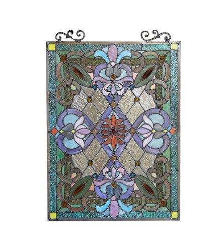 IZZY Tiffany-glass Victorian Window Panel 18x25