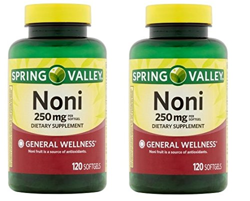 Natural Noni Vitamins Immune Health by Spring Valley,(250 mg), 120 softgels (Pack of 2)