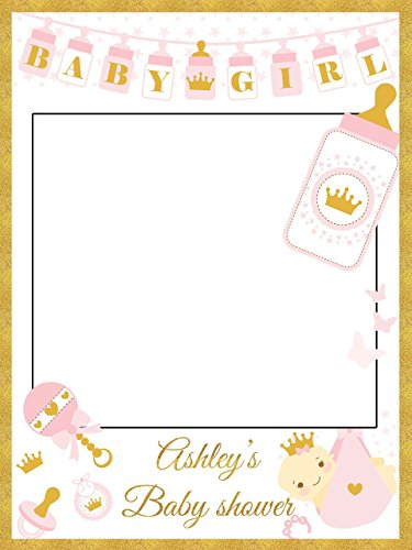 Custom Pink & Gold Princess Crown and Toys Royal Baby Shower Photo Booth Frame - Sizes 36x24, 48x36; Personalized Baby Shower Photo Frame Photo Prop; Handmade Baby Shower Banner Decorations (Picture House Frame First)