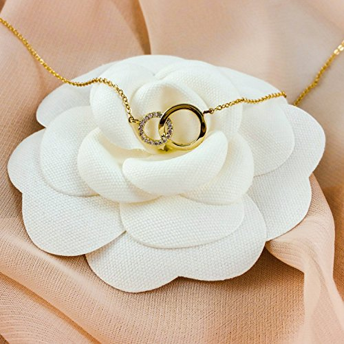 "Bridesmaid Gifts- Delicate Infinity Interlocking Circles Necklace (16"", Gold Color, Pave Crystal), Set of 2"
