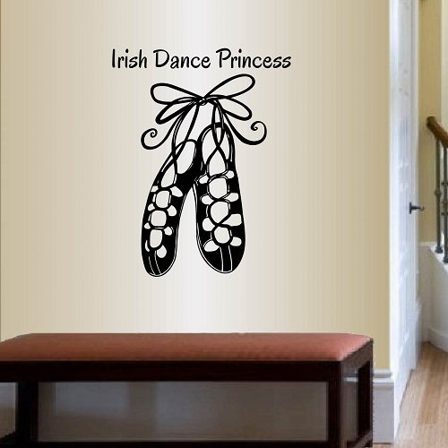 Wall Vinyl Decal Home Decor Art Sticker Irish Dance Princess Phrase Shoes Ireland Dublin Celtic Step Dance Room Removable Stylish Mural Unique Design