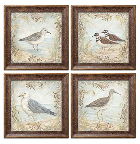 Lovely Seagull, Sandpiper and Shorebird Set; Coastal Décor; Four 12x12in Gold Trim Brown Framed Prints, Ready to Hang! ()
