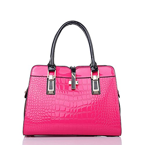 Mn&Sue Sweet Lady Style Alligator Bright Color Patent Leather Crucifix Ornament Top Handle Shoulder Purse Handbag for Women (Hot Pink)