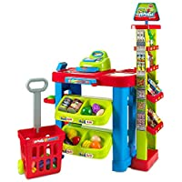 Creative Time Kids Supermarket Super Fun Playset con carrito de compras