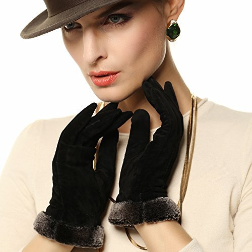 Women's Pigskin Suede Leather Winter Wool Lining Touchscreen Texing Gloves (M, Black (Touchscreen Function & Wool Lining))