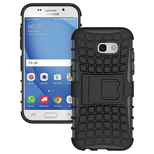 YHUISEN Galaxy A5 2017 caso, patrón de neumáticos de doble capa armadura de amortiguación de la caja protectora con Kickstand para Samsung Galaxy A5 2017 A520 ( Color : White ) Black