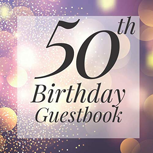 50th Birthday Guestbook: Purple Gold Sparkle Bokeh Guest Book  - Elegant 50 Birthday Wedding Anniversary Party Signing Message Book - Gift Log & Photo ... Keepsake Present - Special Memories Ideas