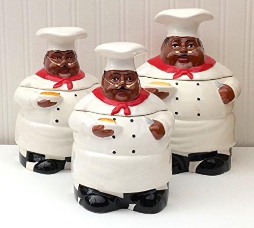 Kitchen Decor, African American Guys, Bistro Black Happy Chef, 3pc Canister Set, 89029 By ACK (Fat Chef Kitchen Cookie Jar)