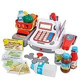 YOOMUN 40pcs Kids Supermarket Cash Register Electronic Toys with Foods Basket Money Children Learning Education Pretend Play Set(Random Color)