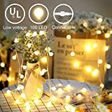 YMing LED String Lights, Plug in String Lights, 33Ft 100 LED Warm White Globe Indoor Outdoor Decorative Lights with Timer, 29V Safe Voltage and IP44 Waterproof