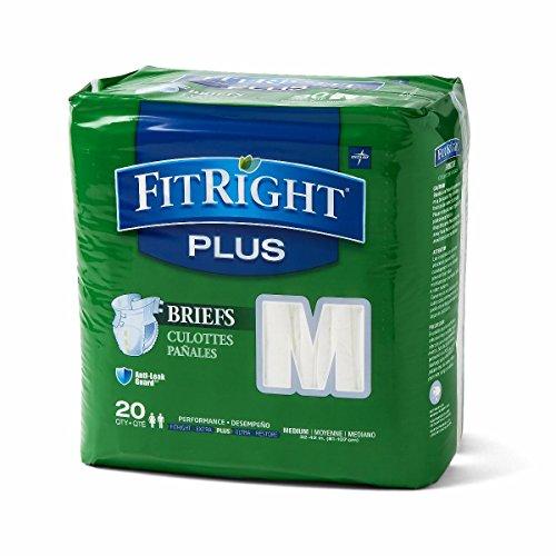 Medline FITPLUSMD FitRight Plus Briefs, Heavy Absorbency, 32