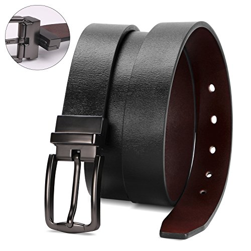 (Reversible Leather Belts for Women with Rotated Metal Buckle 1.1in Black/Brown Women Narrow Jeans Belt Christmas Gift Box (Fit waist 44-48in, 01Black/Brown) )