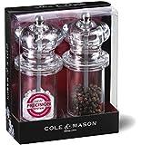 Cole & Mason H50518P - Juego de molinillos acrílicos de sal y pimienta (140 mm)