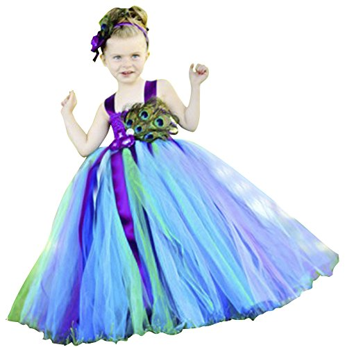 Dreamdress Girl's Peacock Flower Girl Dress Children Catwalk (Peacock Dress For Girls)