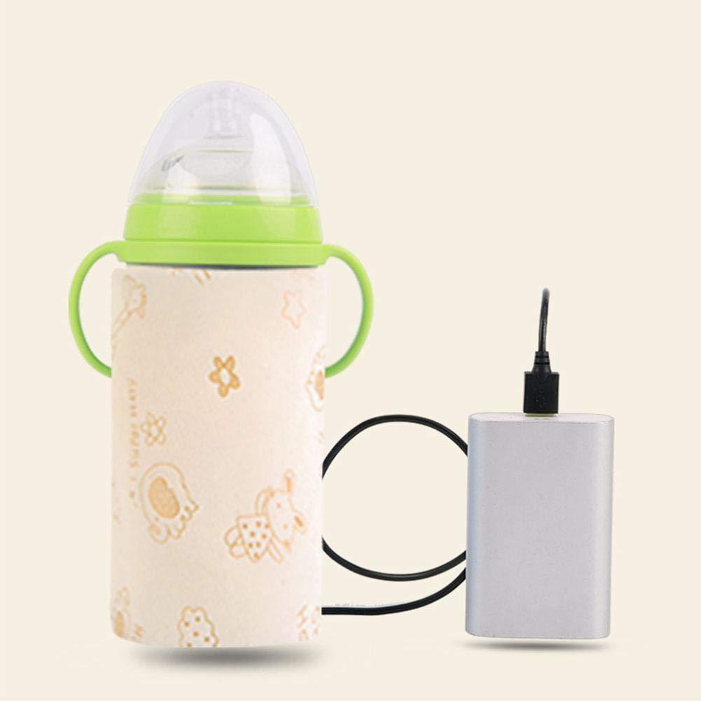 kingpo Termostato de Botella Calentador de Leche port/átil al Aire Libre Calentador de Botella USB Aislamiento Cubierta de alimentaci/ón