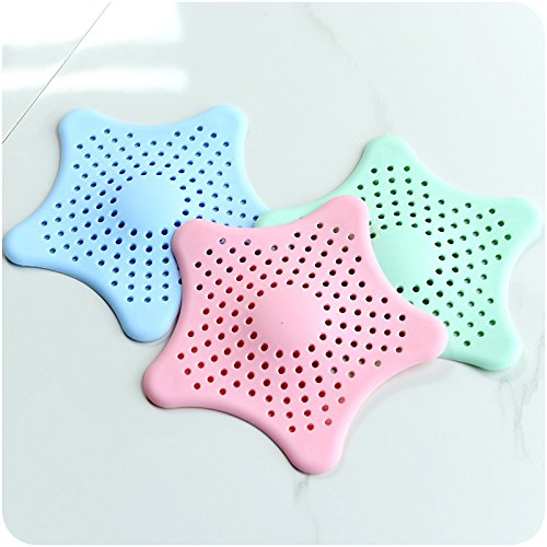 Starfish Hair Catcher, Starfish Suction Cups Sink Strainers Kitchen Sink Strainer Drain Cover Hair Stopper, 6 PCS