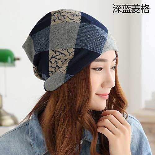 (Spring Autumn hat Cap Women Girls Cap Month Piles Unique Cap Sleeve Head Cap Letter Cap Turban Tide Sleep (shilly-Cap - Blue Quilted)