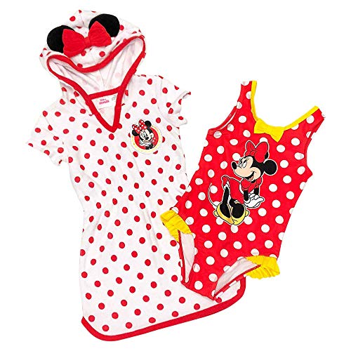- Disney Minnie Mouse Little Girls Cover-up Dress and Swimsuit Set (3T) Red