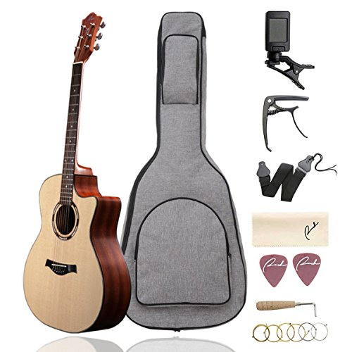 Beginner Acoustic Guitar Ranch 41″ Full Size Solid Wood Cutaway Beginners Steel String Guitars Kit Bundle with Gig Bag/Tuner/Capo/Strings/Strap/Picks Set Starter Pack for Adults (Grand Auditorium)