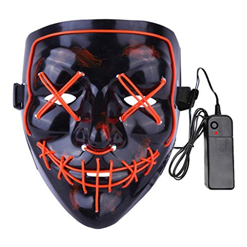 Fit Design Light up Mask Halloween Cosplay LED Scary Purge Mask for Festival Costume Parties (Orange EL Wire)