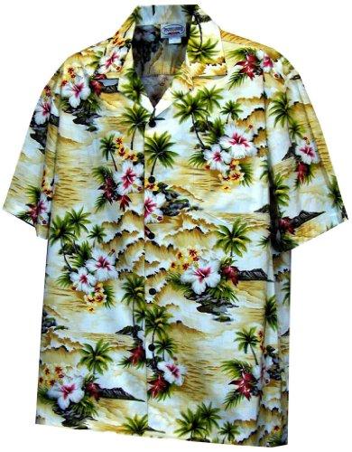 Paradise Hibiscus Hawaiian Shirts - Mens Hawaiian Shirts - Aloha Shirt - Hawaiian Clothing - 100% Cotton Maize Medium