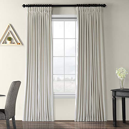 Off White Pocket - Half Price Drapes VPCH-VET1219-96 Signature Doublewide Blackout Velvet Curtain, Off White, 100 X 96