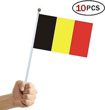Banderas Pequeñas,Banderas de Mano,Bandera de Bélgica con 14 x 21 CM Juego de 10 PCS Mini Bandera Nacional Mini Bandera Bélgica: Amazon.es: Deportes y aire libre