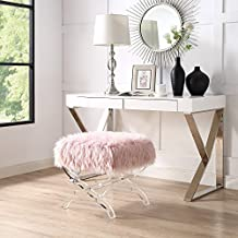 Inspired Home Giselle Rose Faux Fur Ottoman - Modern Acrylic X-Leg | Upholstered | Living Room, Entryway, Bedroom
