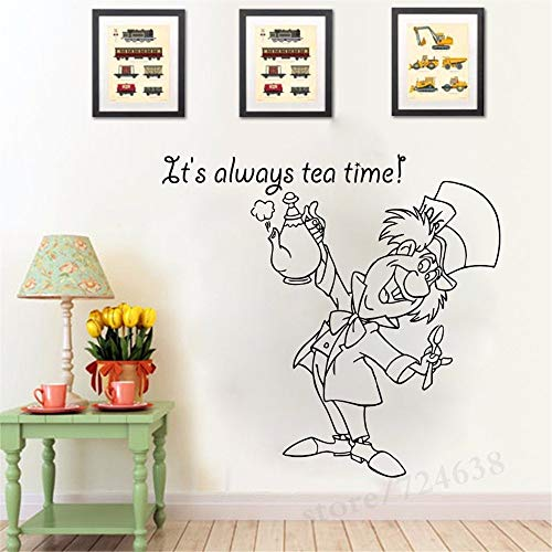 Alice in Wonderland Series Wall Stickers Mad Hatter with It is Always On Time Cute Quotes Vinyl Cute Murals Kids Room Decor -