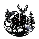 design ideas for living rooms Deer Vinyl Record Wall Clock - Home Or Living Room wall decor - Gift ideas for Men, Boys, Friends – Animals Unique Art Design