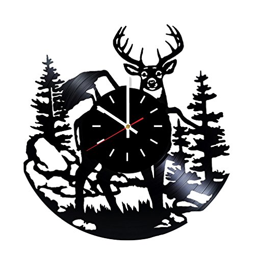Deer Vinyl Record Wall Clock - Home Or Living Room wall decor - Gift ideas for Men, Boys, Friends - Animals Unique Art Design