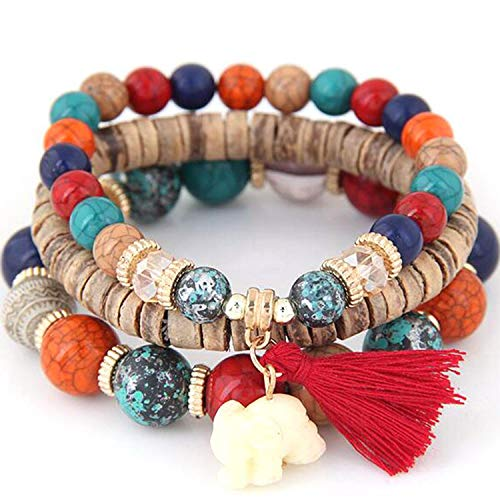MelysUS Bead 3 Wrap Stackable Bracelets for Women Vintage Boho Bracelets Wood Elephant Charm Bangle