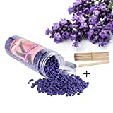 Hair Removal Without Wax - 14Oz Hard Wax Beans+15pcs Wax Applicator Sticks, Stripless Depilatory Hair Removal Wax Beads for Eyebrow, Face, Bikini, Armpit and legs , for Women Men(Lavender)