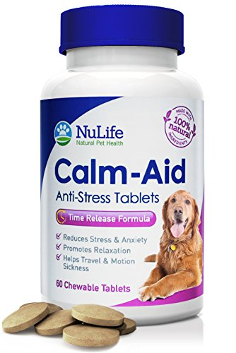 75 Mg 60 Chewable Tablets (NuLife Natural Pet Health - Dog Anxiety Relief - Natural Calming Aid with Advanced Time Release Formula - Relieves Stress, Travel Sickness & Promotes Relaxation - 60 Chewable)