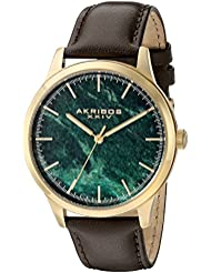Akribos XXIV Mens Gold-Tone Case with Green Marble Dial on Brown Genuine Leather Strap Watch AK937BRGN