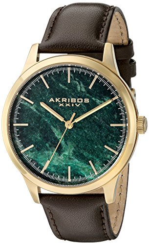 Akribos XXIV Men's Gold-Tone Case with Green Marble Dial on Brown Genuine Leather Strap Watch AK937BRGN