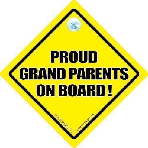 PROUD GRANDPARENTS ON BOARD Car Sign, Baby On Board Sign Style, Bumper Sticker Style, Grandparents Car Sign, Baby Car Signs Grandparent Car Sign, Novelty Car Sign, baby on board, Baby on Board Sign Style, Bumper Sticker Style, Grandad car sign, Grandma Car